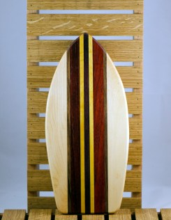 Small Surfboard 16 - 08. Hard Maple, Black Walnut, Padauk & Yellowheart.
