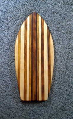 "Small Surfboard 16 - 09. Purpleheart, Canarywood & Hard Maple. 6-1/2"" x 16"" x 3/4""."