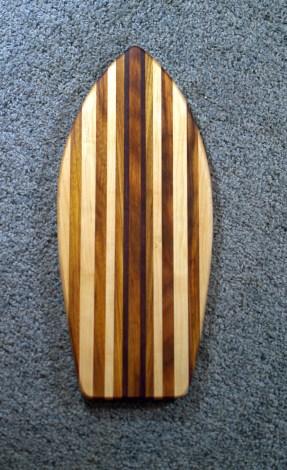 "Small Surfboard 16 - 09. Purpleheart, Canarywood & Hard Maple. 6-1/2"" x 16"" x 3/4""."