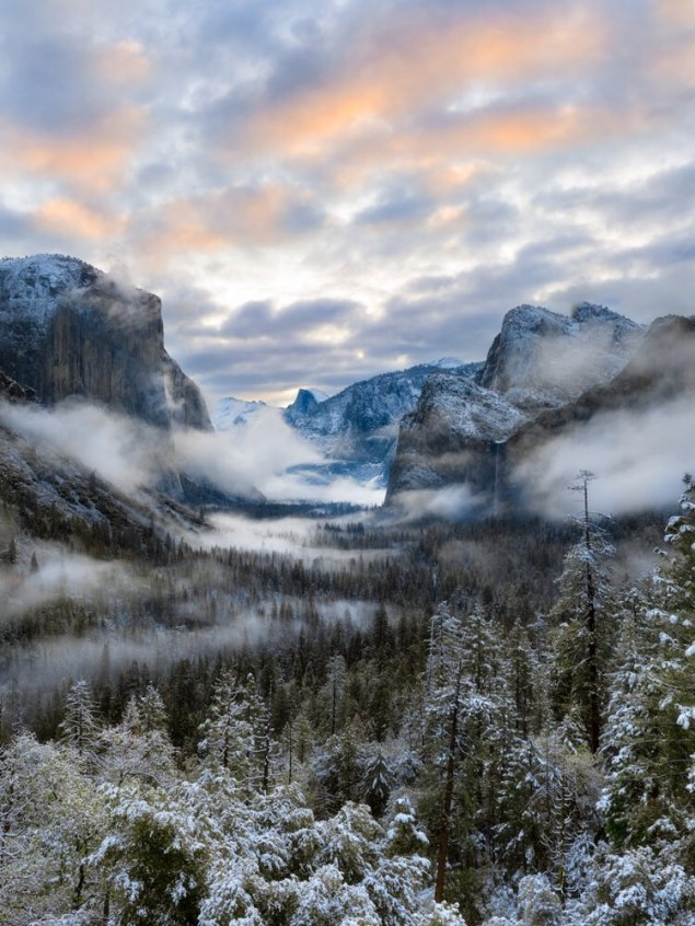 Fresh snow, fog & pastels make for a magical sunrise in California's Yosemite National Park. Photo taken in April 2014 by Matt Walker. Tweeted by the US Department of the Interior, 5/20/14.