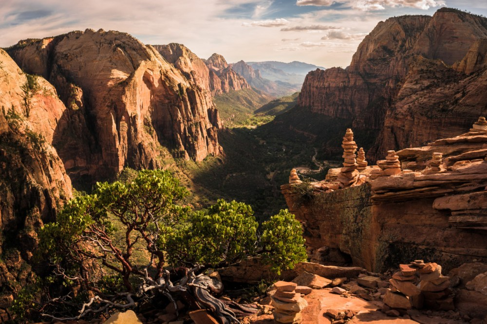 Angel's Landing at Zion National Park in Utah. A strenuous climb and a steep, narrow ridge lead to the summit, where an expansive panorama is well worth the effort. This trail can get crowded – please remember to be safe. Photo courtesy of Brock Slinger. Posted on Tumblr by the US Department of the Interior, 6/4/16.