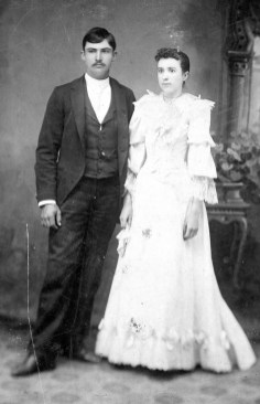 Norman Ernest Boring & Frances Emaline Miles, in their wedding photo. 1893.