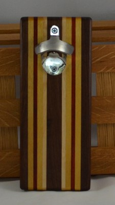Magic Bottle Opener 16 - 097. Black Walnut, Yellowheart, Padauk & Hard Maple. Double Magic = Refrigerator or Wall Mount.