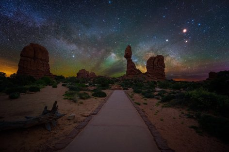 The Milky Way behind Balanced Rock Arizona's Arches National Park. Photo by Joshua Snow. Tweeted by the US Department of the Interior, 8/2/16.