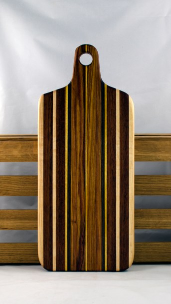 "Bread Board 16 - 11. Hard Maple, Canarywood, Jatoba & Yellowheart. 8"" x 20"" x 7/8""."