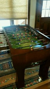 The loveliest Foosball table I have ever used to beat Velda at a game she does not understand.