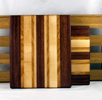 "Cheese Board 16 - 027. Bubinga, Cherry & Hard Maple. 9"" x 11"" x 3/4""."