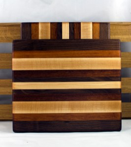 "Cheese Board 16 - 040. Black Walnut, Jatoba & Hard Maple. 9"" x 11"" x 3/4""."