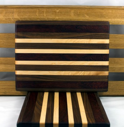 "Cheese Board 16 - 043. Padauk, Black Walnut, Jatoba & Hard Maple. 8"" x 11"" x 3/4""."