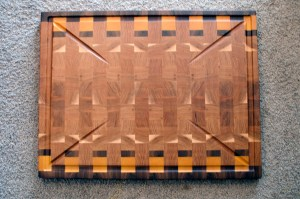 """Cutting Board 16 - End 038. Black Walnut, Yellowheart & Hickory. End Grain, Large Custom Juice Groove. 20"""" x 26"""" x 1-1/2"""". Commissioned Piece."""