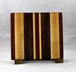 "Small Board 16 - 022. Hard Maple, Jatoba & Bubinga. 10"" x 10"" x 7/8""."