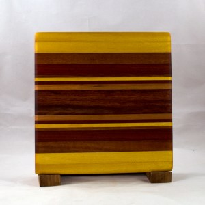 "Small Board 16 - 022. Yellowheart, Bloodwood, Goncalo Alves, Bubinga & Cherry. 10"" x 10"" x 7/8""."