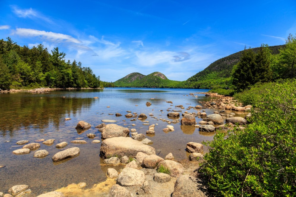The first eastern national park, Acadia's rugged coast has beckoned visitors for ages. Today people from all over the world come to Acadia National Park in Maine to hike granite peaks, bike historic carriage roads, or relax and enjoy the scenery. Photo of the Bubbles from Jordan Pond by Kristi Rugg, National Park Service. Posted on Tumblr by the U Department of the Interior, 9/6/16.