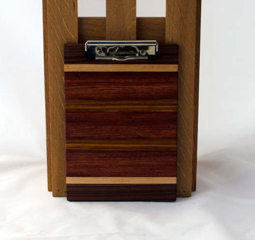 "Clipboard 16 - 023. Black Walnut, Hard Maple, Bubinga & Canarywood. Note pad size. 1/2"" clip."