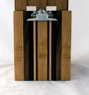 "Clipboard 16 - 024. Hard Maple, Black Walnut & Purpleheart. Letter size. 1"" clip."