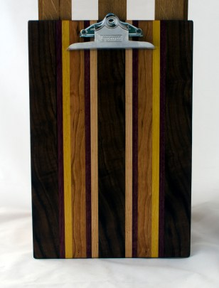 "Clipboard 16 - 028. Black Walnut, Purpleheart, Yellowheart, Cherry & Hard Maple. Legal size. 1"" clip."