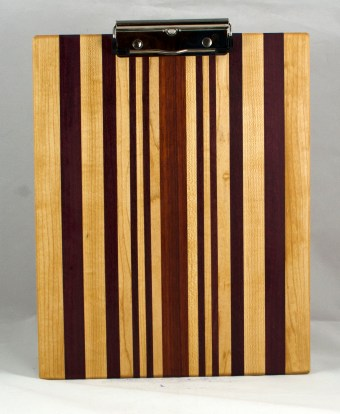 """Clipboard 16 - 031. Hard Maple, Purpleheart & Bloodwood. Letter size, 1/2"""" clip. Commissioned piece."""