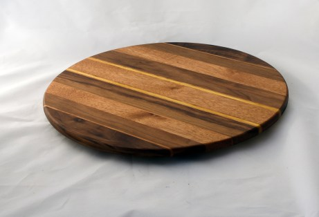 "Lazy Susan 16 - 030. Black Walnut, Cherry & Mahogany. 17"" diameter."
