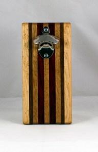 Magic Bottle Opener 16 - 129. Birdseye Maple, Black Walnut, Mahogany & Padauk. Single Magic.