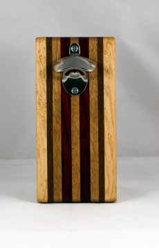 Magic Bottle Opener 16 - 129. Birdseye Maple, Black Walnut, Mahogany & Padauk. Single Magic.