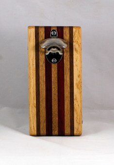Magic Bottle Opener 16 - 142. Birdseye Maple, Black Walnut, Mahogany & Padauk. Double Magic.