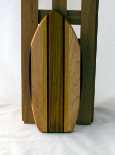 "Small Surfboard 16 - 13. Purpleheart, Hard Maple, Yellowheart & Canarywood. 6"" x 16"" x 3/4""."