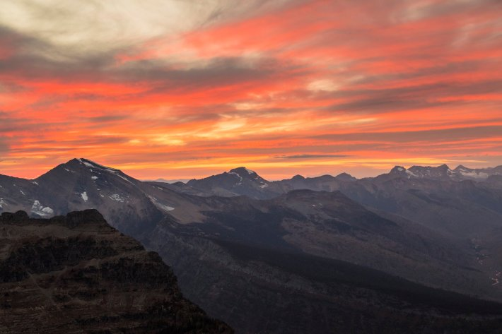 Sunset over Montana's Glacier National Park. Tweeted by the US Department of the Interior, 10/18/16.