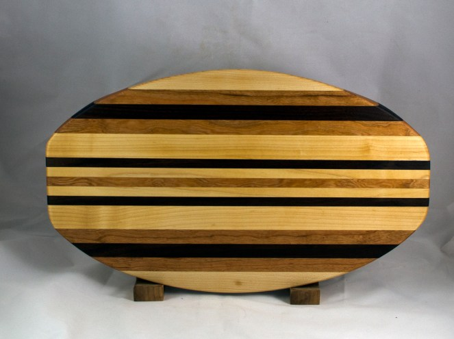 "Cheese & Cracker Server 16 - 01. Hard Maple, Cherry & Black Walnut. 12"" x 19"" x 1-1/4""."