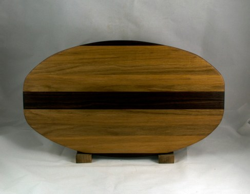 "Cheese & Cracker Server 16 - 18. Black Walnut, Hickory & White Oak. 12"" x 19"" x 1-1/4""."