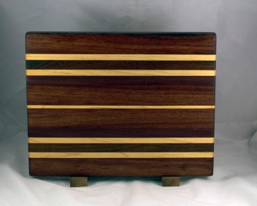 "Cutting Board 16 - Edge 028. Bubinga, Hard Maple, Purpleheart, Jatoba & Bloodwood. Edge Grain. 13"" x 16"" x 1-1/4""."