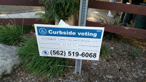 If you couldn't get out of your car, they would bring a ballot to you. Drive up voting, if you will.
