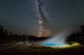 "Photographer Michael Sprill wanted to capture the Milky Way over the amazing landscape of Yellowstone National Park in Wyoming. He used a long exposure to capture the night sky and a flashlight to shine on Silex Spring, spotlighting the geothermal pool. He was very excited about the results, ""The steam coming off the water really makes the photo look magical!"" Photo by Michael Sprill. Posted on Tumblr by the US Department of the Interior, 11/20/16."