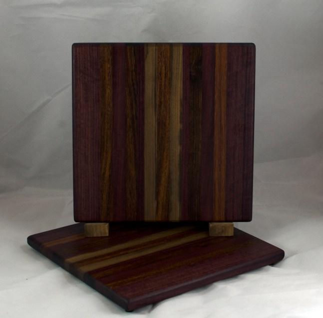 "Cheese Board 16 - 059. Purpleheart, Caribbean Rosewood, Black Walnut, & Jatoba. 12"" x 12"" x 3/4""."