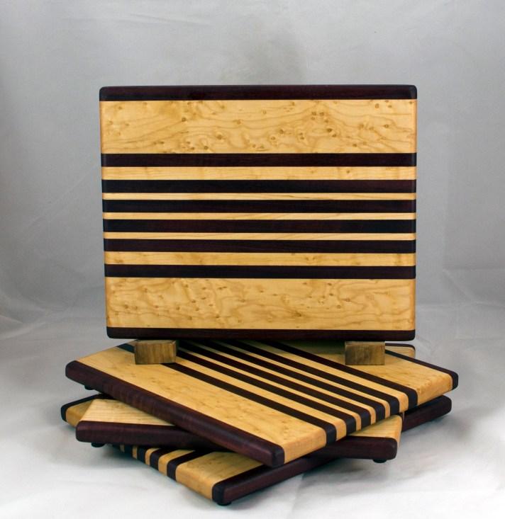 """Cheese Board 16 - 04. Birdseye Maple & Purpleheart. 8"""" x 11"""" x 3/4""""."""