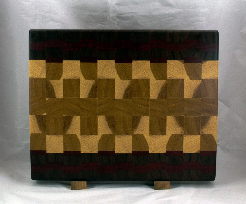 "Cutting Board 16 - End 047. Black Walnut, Bloodwood & Hickory. End Grain. 15"" x 18"" x 1-1/2""."