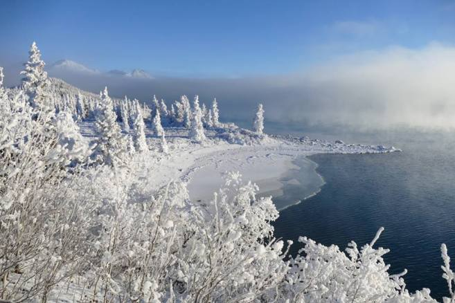 Winter has come to Lake Clark National Park & Preserve in Alaska and left it wrapped in white and blue. Besides water and sky, every feature is coated with snow and frost – obscured by a wispy fog and lingering clouds. It's peaceful, beautiful and cold enough to make your teeth chatter. Photo by J. Mills, National Park Service. Posted on Tumblr by the US Department of the Interior, 12/2/16.