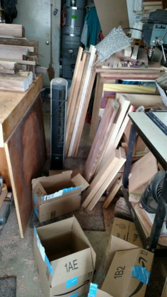 Short stock clogging up the side of the bench. When I lose mobility, the shop suffers.