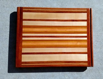 """Cutting Board 17 - 101. Jatoba, Hard Maple, Cherry & Canarywood. Edge Grain with Bread Board Ends. In-counter replacement, commissioned piece. 16"""" x 21"""" x 3/4""""."""