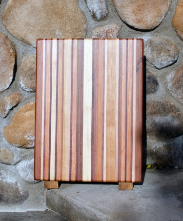 "Cutting Board 17 - 104. Chaos Board. Jatoba, Hard Maple, Purpleheart, Black Walnut & Cherry. Edge Grain. 12"" x 15"" x 1-1/4""."