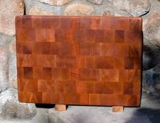 "Cutting Board 17 - 407. Hard Maple. Upcycled board: the wood used to be an edge grain, unfinished kitchen counter. End Grain. 12"" x 18"" x 1-1/2""."