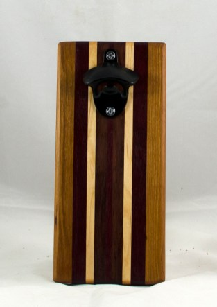 Magic Bottle Opener 17 - 605. Cherry, Purpleheart, Hard Maple & Bubinga. Single Magic.