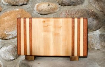 "Small Board 17 - 205. Jatoba & Hard Maple. 7"" x 12"" x 1-1/4""."