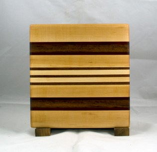 "Small Board 17 - 209. Hard Maple, Purpleheart & Jatoba. 10-1/2"" x 10"" x 3/4""."
