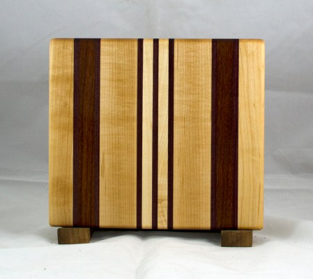"Small Board 17 - 210. Hard Maple, Purpleheart, Padauk & Jatoba. 9-1/4"" x 10-1/2"" x 3/4""."