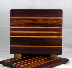 "Small Board 17 - 214. Purpleheart, Cherry, Bubinga, Hard Maple & Bloodwood. 10"" x 11-1/2"" x 3/4""."