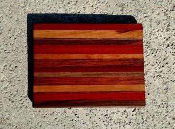 "Cheese Board 17 - 320. Padauk, Cherry, Black Walnut & Jatoba. Chaos Board. 8-1/2"" x 11"" x 5/8""."