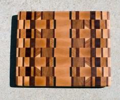 "Cutting Board 17 - 420. Cherry, Hard Maple, White Oak, Padauk, Jatoba & Hickory. End Grain. 11"" x 13-1/2"" x 1-1/8""."