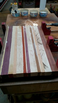 """The """"blank,"""" glued up and in the clamps."""