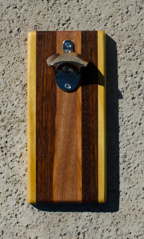 Magic Bottle Opener 17 - 616. Yellowheart, Jatoba, Cherry & Mahogany. Double Magic.