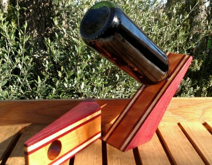 Wine Bottle Holder 17 - 03. Purpleheart, Hard Maple & Cherry. Easy to personalize on the Cherry.